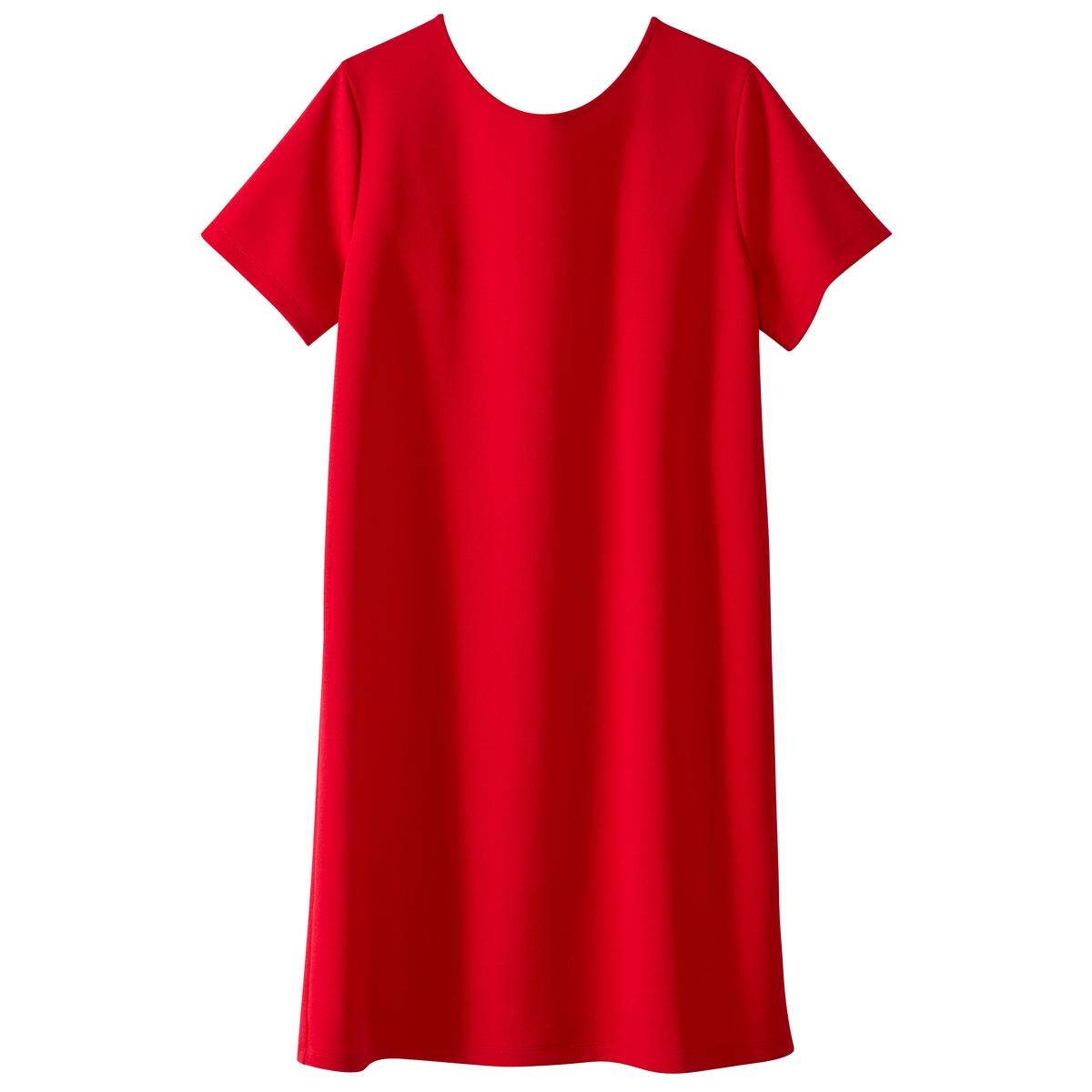 Платье с короткими рукавами, оригинальная спинкаМатериал : 97% полиэстера, 3% эластана       Длина рукава : короткие рукава       Форма воротника : Круглый вырез      Покрой платья : платье прямого покроя   Рисунок : Однотонная модель        Длина платья : до колен      Стирка : машинная стирка при 30 °С на деликатном режиме      Уход : Температура глажки низкая / не отбеливать      Машинная сушка : машинная сушка запрещена      Глажка : Сухая (химическая) чистка запрещена<br><br>Цвет: красный,фиолетовый,черный<br>Размер: S.M.M.XL.S.M.XL.L