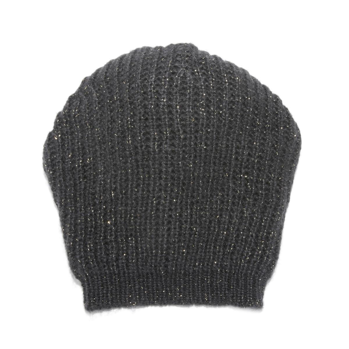 Шапка из трикотажа с волокнами с металлическим блеском облегающая шапка с металлическим декором gaudi облегающая шапка с металлическим декором