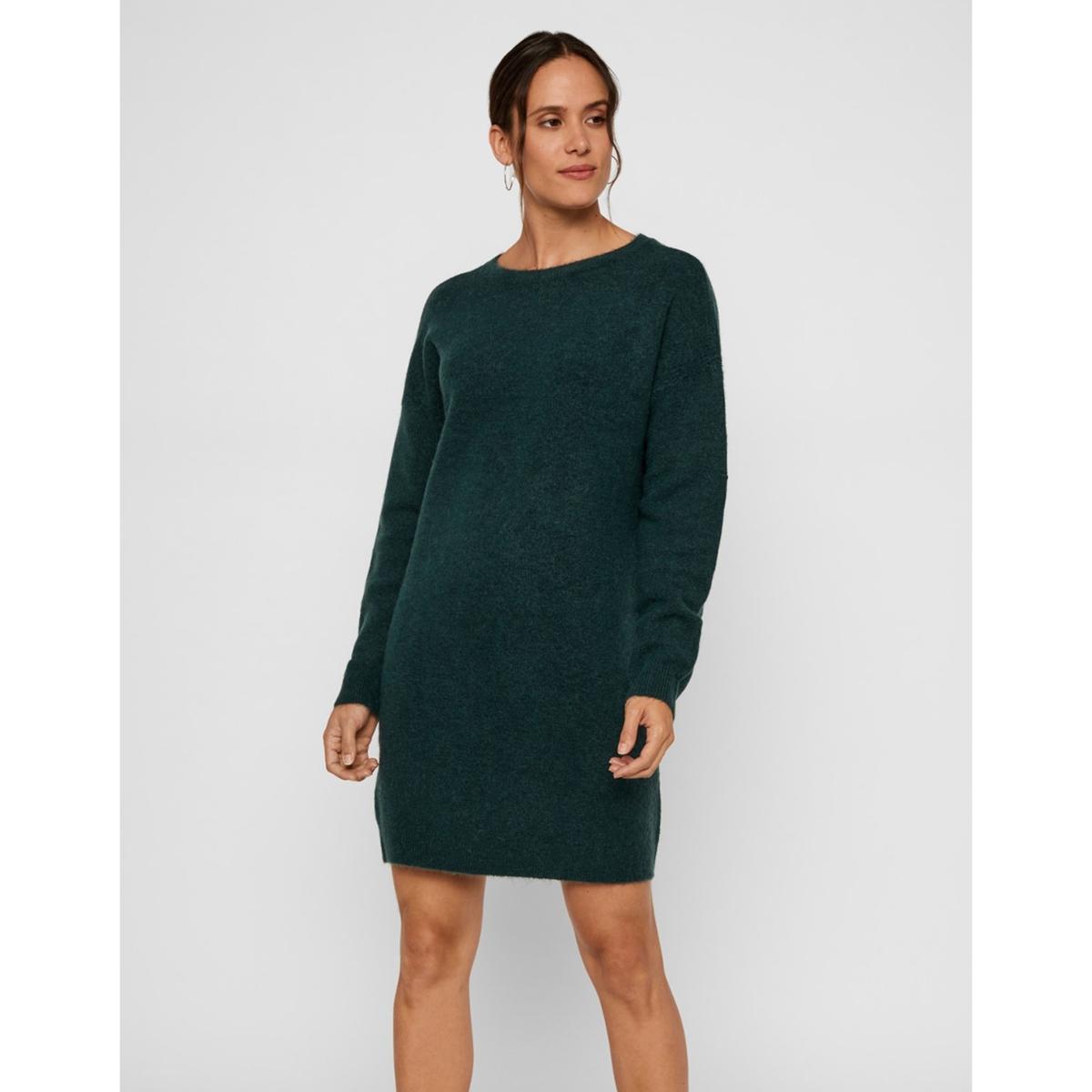 цена Платье-пуловер La Redoute Короткое с длинными рукавами XL синий онлайн в 2017 году