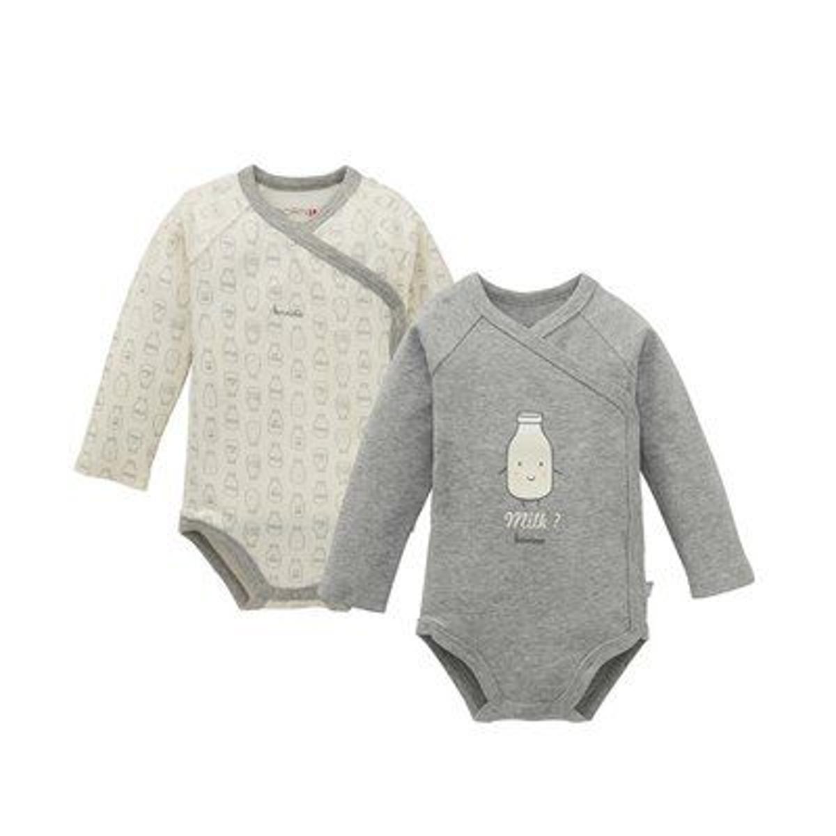 Bornino Lot de 2 bodys portefeuille à manches longues bébé