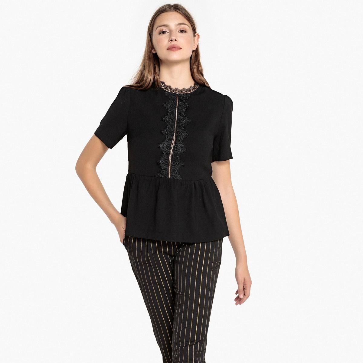 Блузка с круглым вырезом из кружева, открытая спинка LANDRY блузка с квадратным вырезом со вставкой из кружева