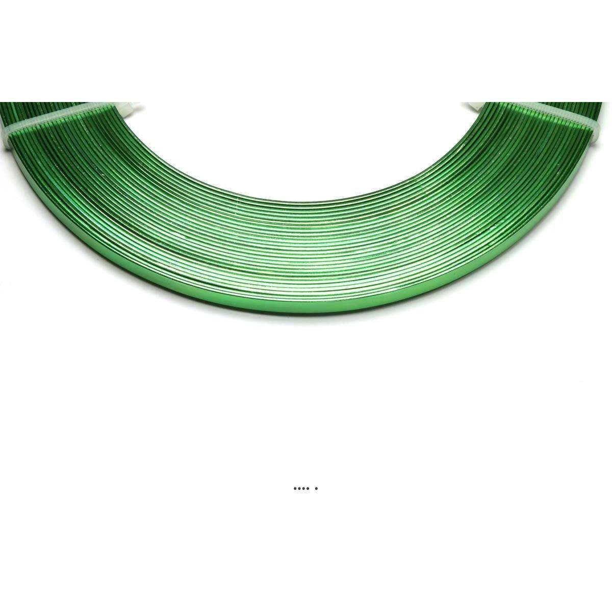 Fil aluminium Plat Vert pomme souple lg 5 mm L 10 metres decoration - choisissez votre coloris: Vert Pomme