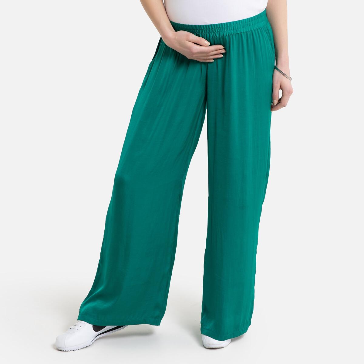 Фото - Брюки LaRedoute Широкие для периода беременности 36 (FR) - 42 (RUS) зеленый брюки laredoute для периода беременности прямые с принтом в ломаную клетку 38 fr 44 rus другие