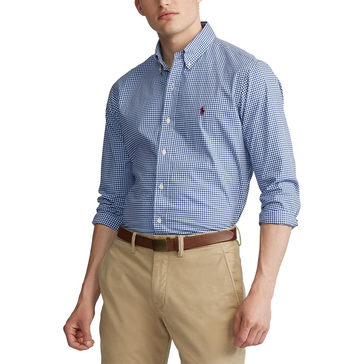 Рубашка La Redoute Слим из поплина в клетку виши S синий