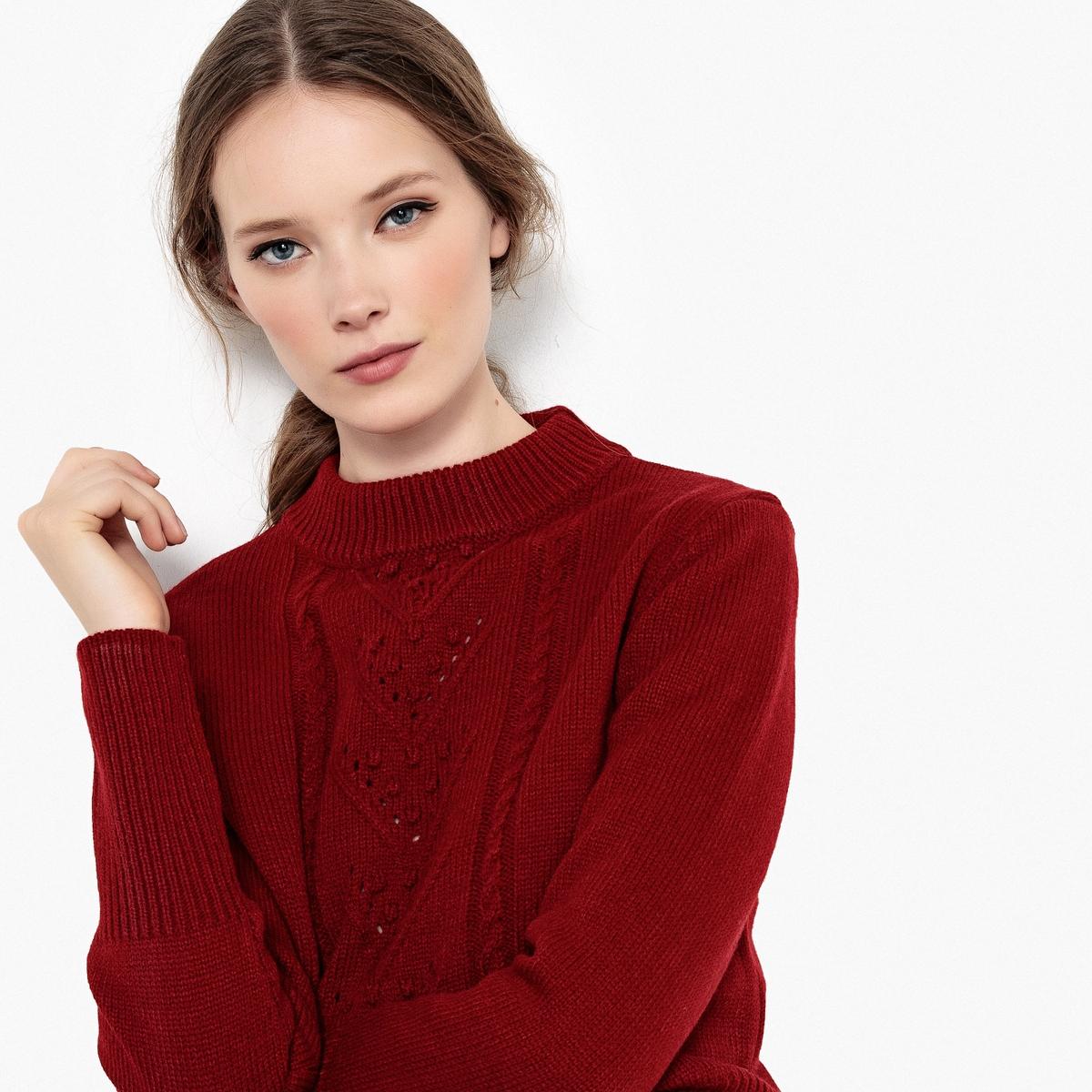 Jersey con cuello redondo y trenzados, lana