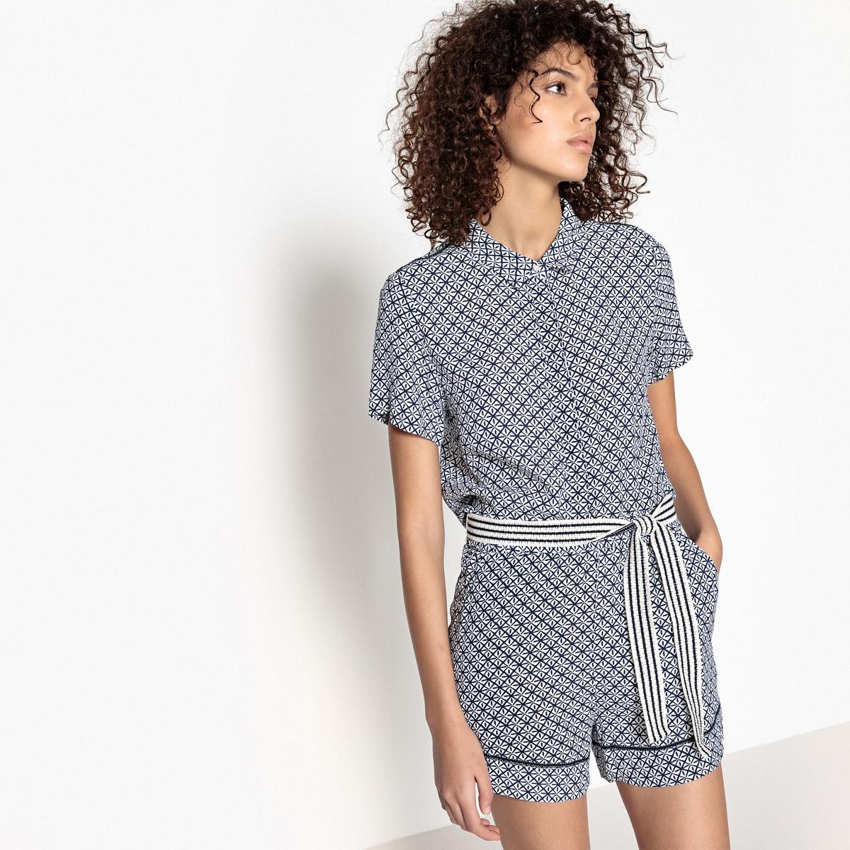 Комбинезон с шортами с короткими рукавами, рисунком и поясом