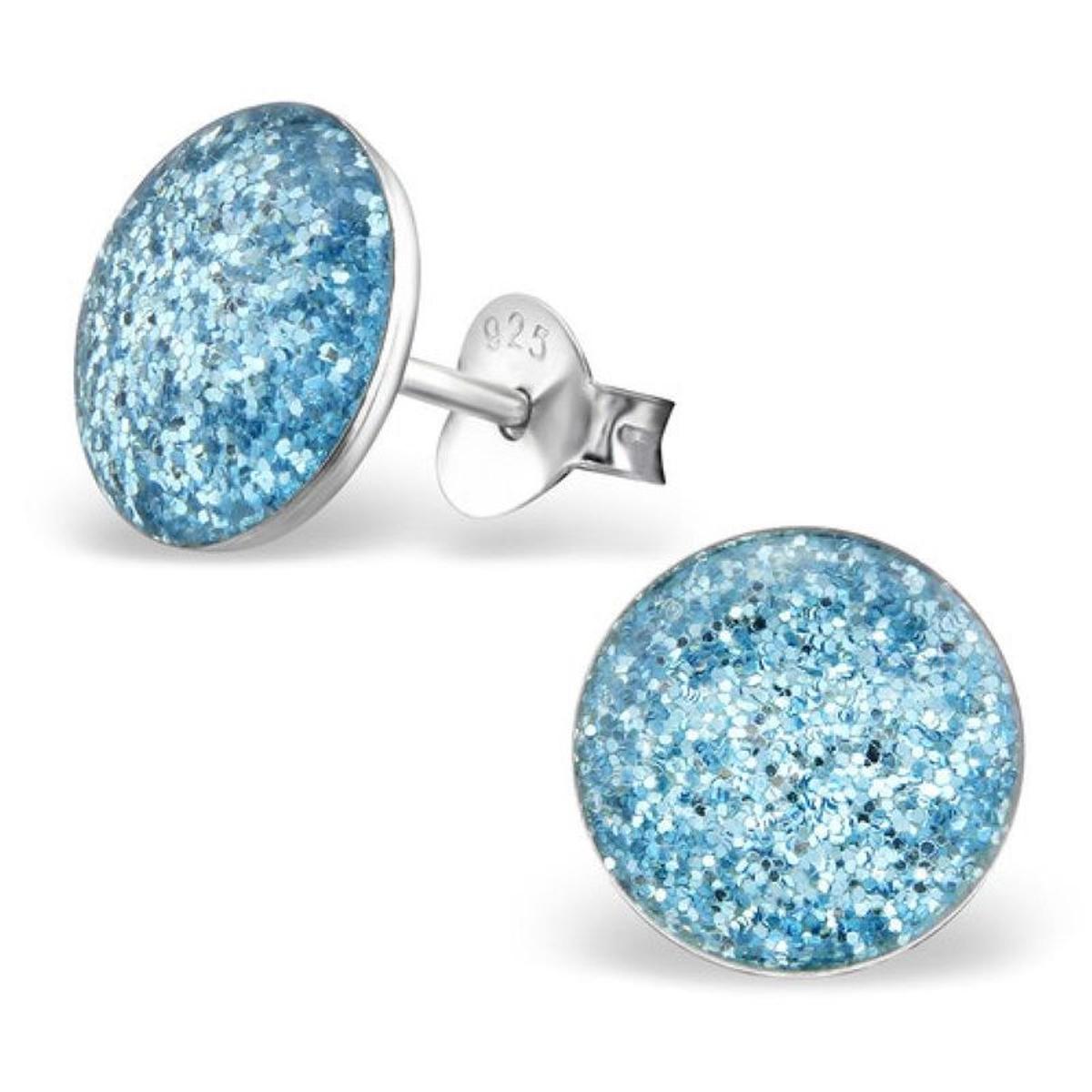 Boucles d'oreilles Rond 9 mm Paillette Bleu Argent 925