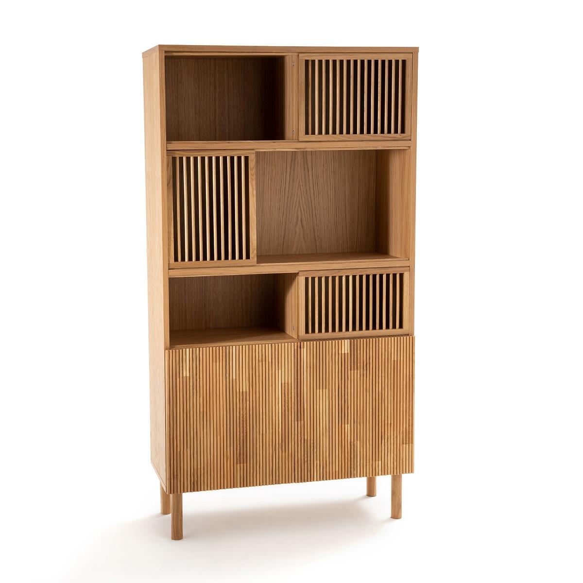 Шкаф LaRedoute Книжный из дуба Bilbao единый размер каштановый