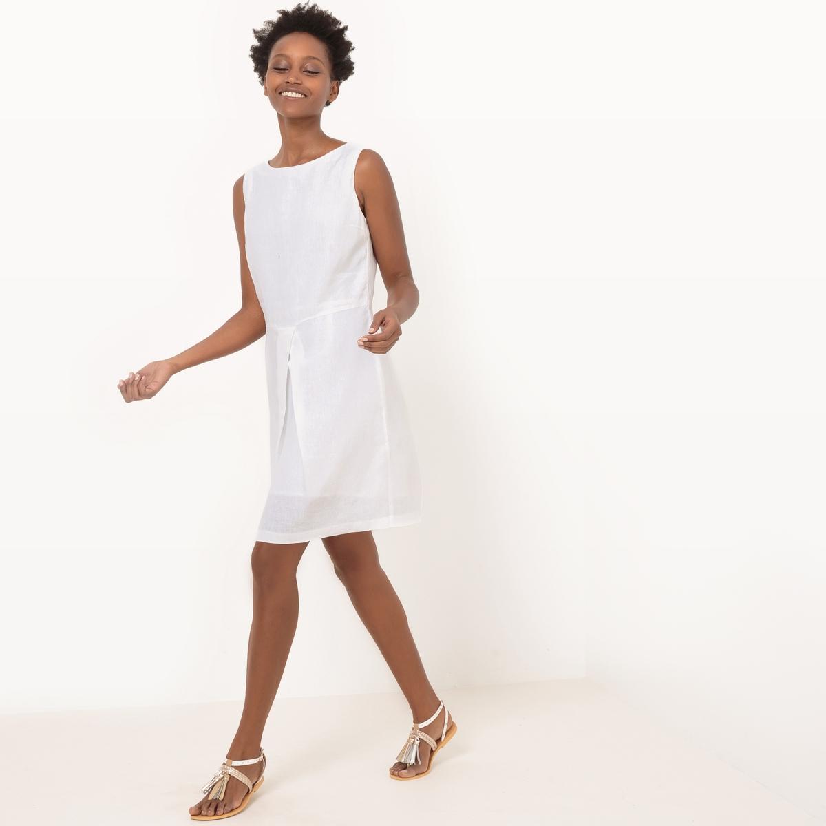 Платье без рукавов из льнаМатериал : 100% лен      Подкладка : 100% хлопок      Длина рукава : без рукавов       Форма воротника : круглый вырез      Покрой платья : расклешенное платье      Рисунок : однотонная модель        Длина платья : 91 см<br><br>Цвет: белый,синий королевский,черный