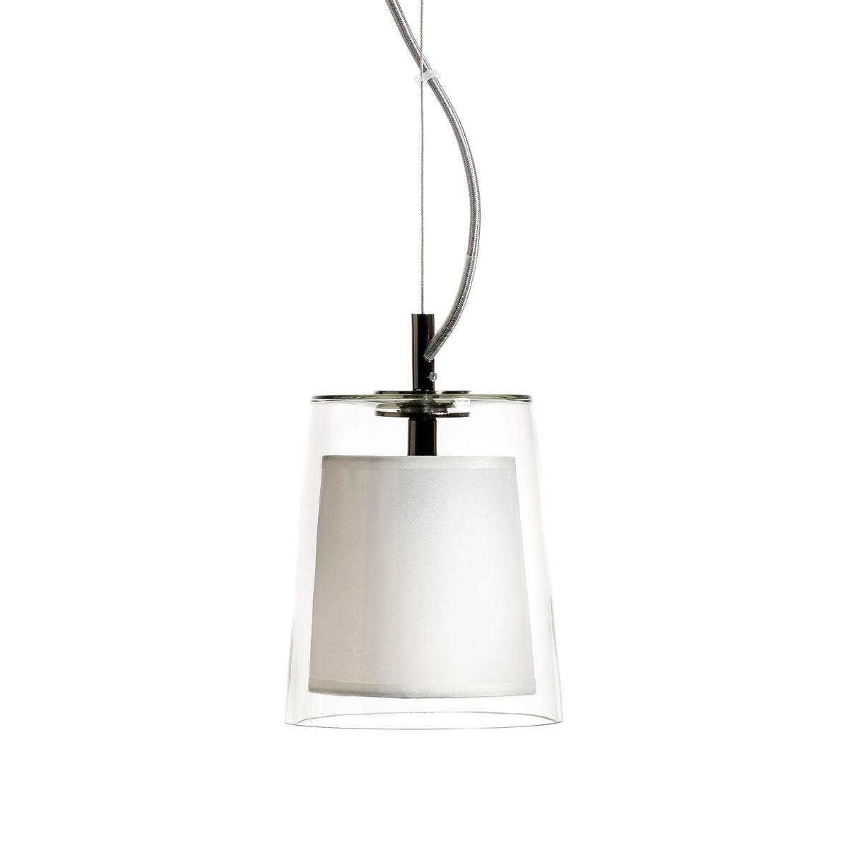 Светильник Duo дизайн Э. Галлины, маленькая модельКоллекция светильников DUO всегда сочетает колпак из стекла с абажуром из бумаги кальки, рассеивающей свет, что создает уютную и приятную атмосферу .Абажур из цветного стекла и кальки  . Кабель из металла . - Подставка из металла с хромированной черной отделкой    . Этот светильник совместим с лампочками энергетического класса A  .Диаметр 14,5 см, Верх . 17 см. Патрон E14.  Флюокомпактная лампочка макс 11 W, не входит в комплект  .<br><br>Цвет: прозрачный