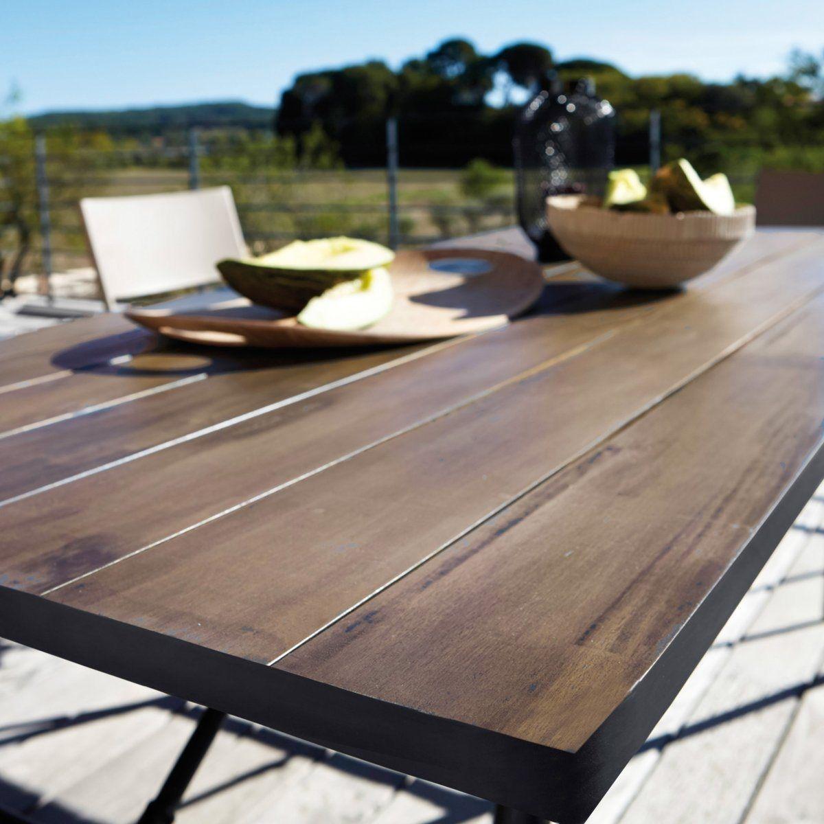 Table de jardin pliante bois et métal sohan Interieurs