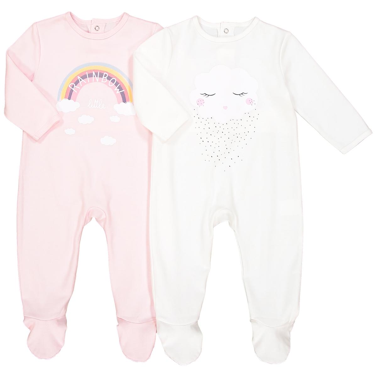 Комплект из 2 хлопковых пижам 0 мес – 3 летОписание:2 очень удобные пижамы из интерлока . Яркие цвета и нежные рисунки, чтобы ваш малыш видел хорошие сны .Детали •  2 пижамы : 1 пижама с рисунком радуга и облака + 1 пижама с рисунком лицо . •  Длинные рукава. •  Круглый вырез. •  Носки с противоскользящими элементами для размеров от 12 месяцев  (74 см). Состав и уход •  Материал : 100% хлопок. •  Стирать с вещами подобного цвета при 40°, на деликатном режиме . •  Стирать и гладить с изнанки при низкой температуре. •  Деликатная сушка в машинке.Товарный знак Oeko-Tex®. Знак Oeko-Tex® гарантирует, что товары прошли проверку и были изготовлены без применения вредных для здоровья человека веществ.<br><br>Цвет: розовый + экрю