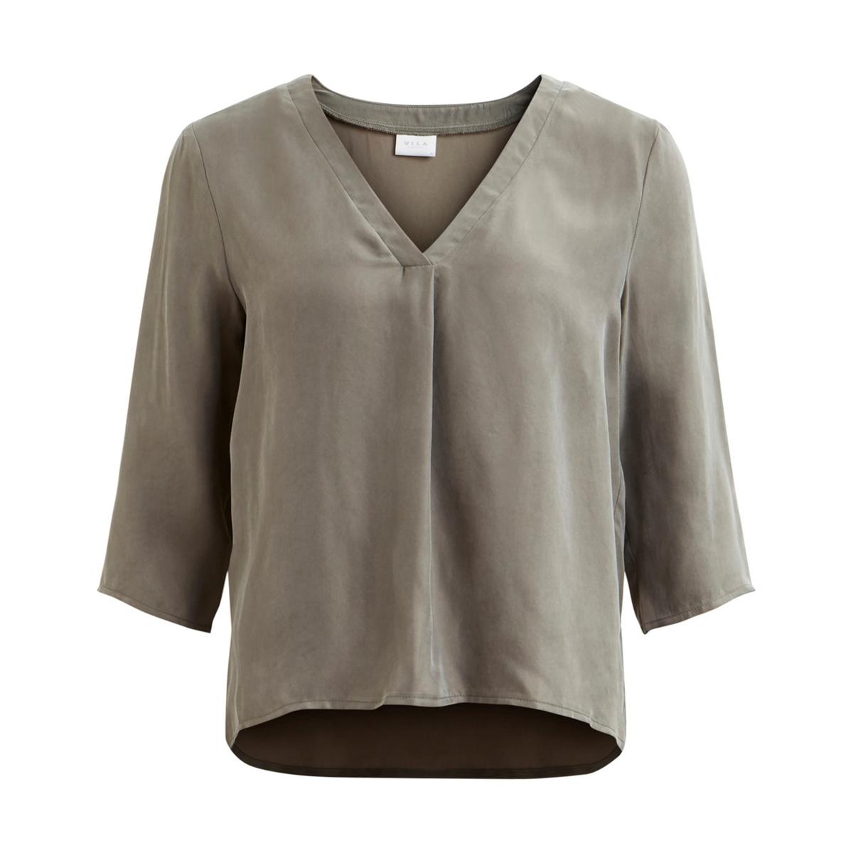 Блузка с V-образным вырезом и рукавами 3/4 блузка свободного покроя бойфренд с v образный вырезом рисунком и рукавами 3 4