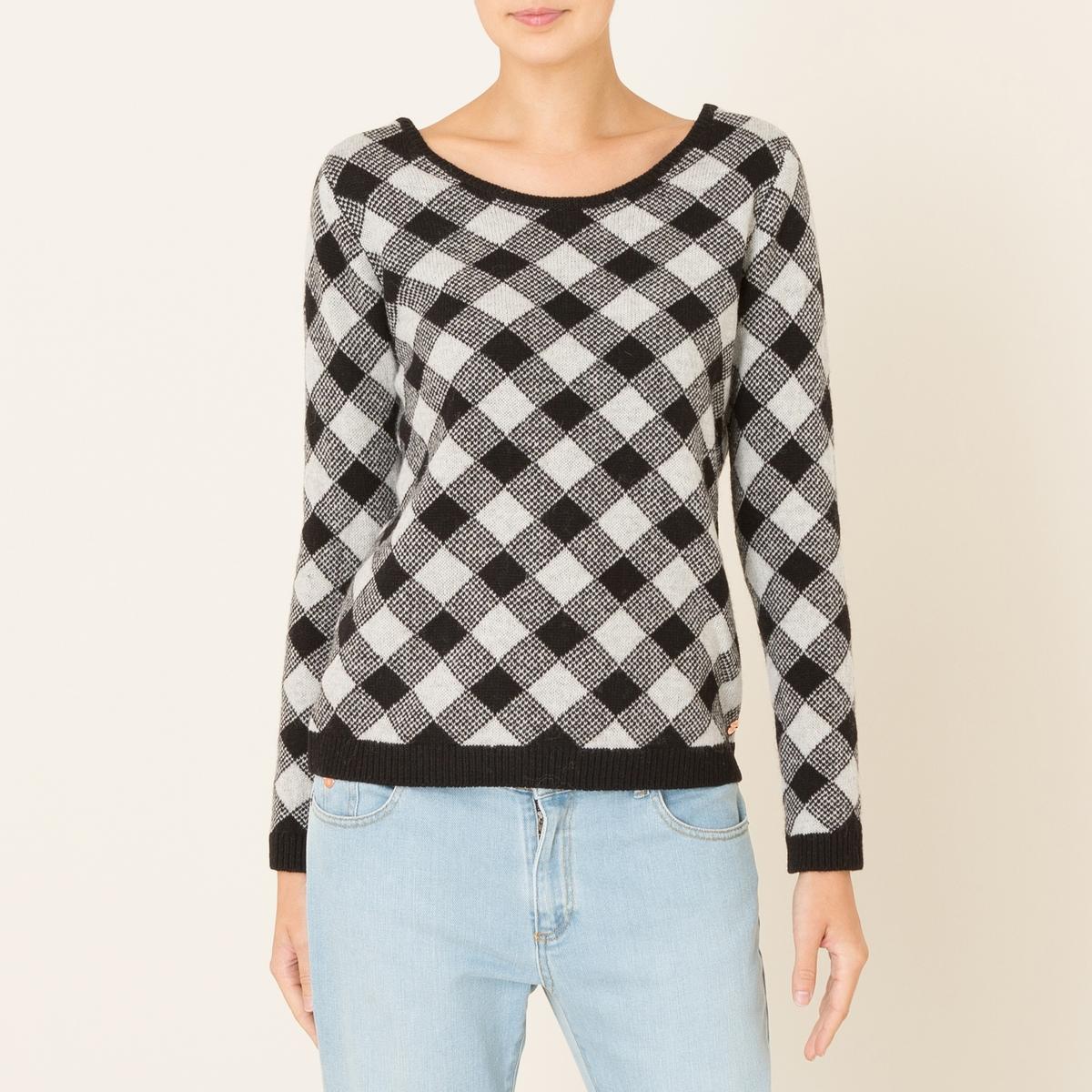 Пуловер TEBALDIПуловер HARRIS WILSON - модель TEBALDI. Двухцветный пуловер с рисунком в виде ромбов. Свободный круглый вырез, однотонные манжеты и низ. Состав и описание Материал : 100% овечья шерсть lambswoolМарка : HARRIS WILSON<br><br>Цвет: черный/ белый