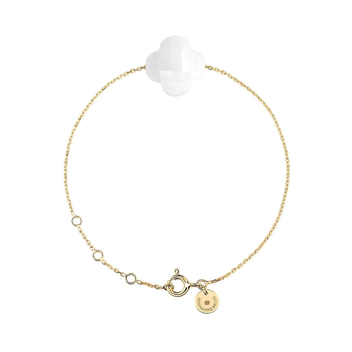 Bracelet Or Jaune Trefle Agate Blanche