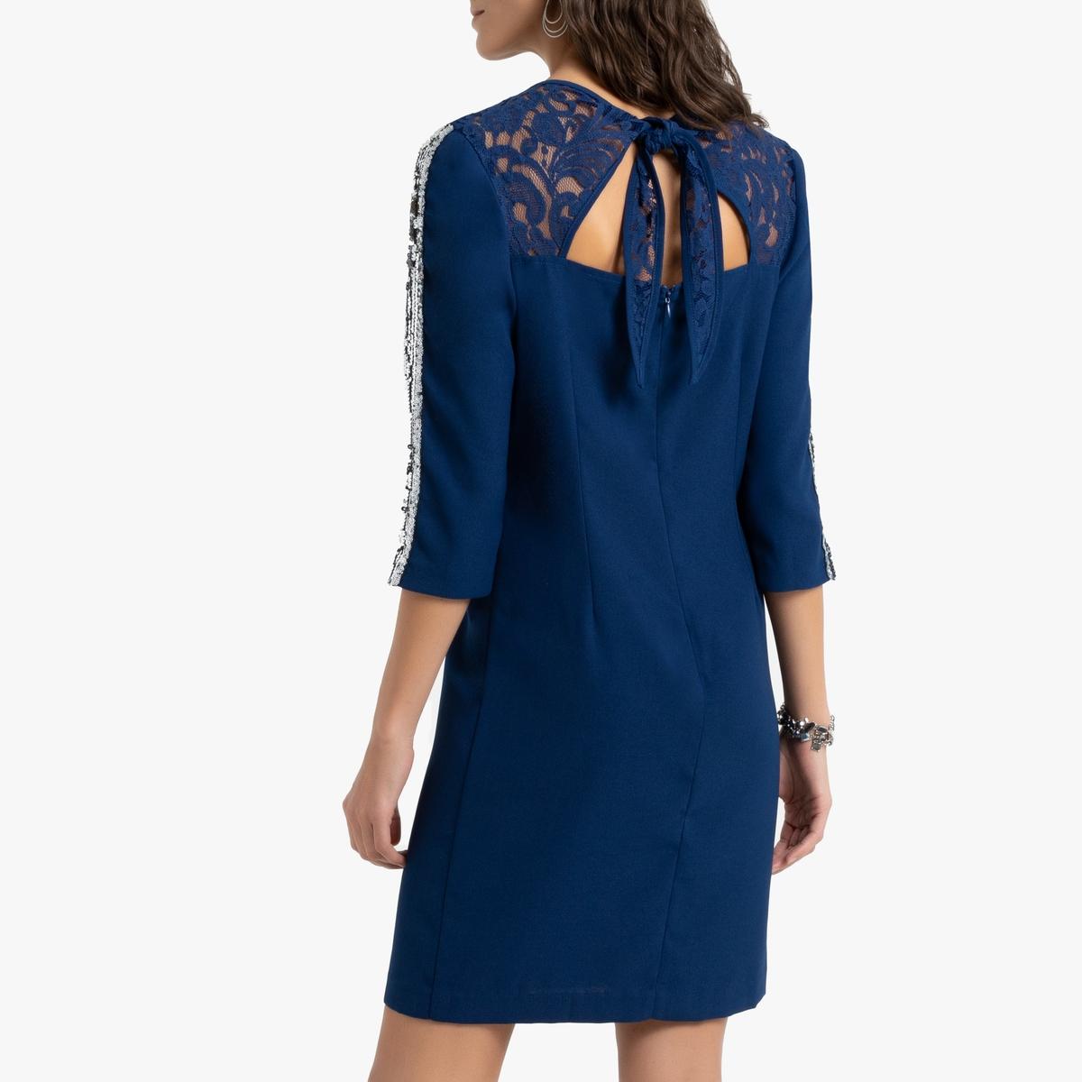 Платье La Redoute Прямое из гипюра с рукавами 52 (FR) - 58 (RUS) синий