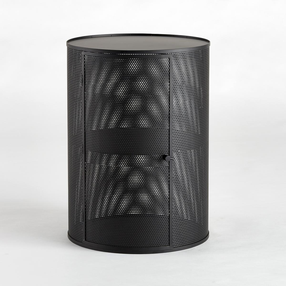 Столик диванный с перфорацией VesperДиванный столик с перфорацией Vesper. Круглый диванный столик, который можно использовать как ночной столик или журнальный столик. В продаже 2 размера. Характеристики :- Из металла с перфорацией, покрытие эпоксидной краской. - 1 дверца. 1 полка.- Дверца открывается влево или вправо. Размеры :- Размер S : диаметр 30 x высота 43 см- Размер M : диаметр 40 x высота 55 см Размеры и вес коробки :- Размер S: Ш.38 x В.38 x Г.48 см, 7,96 кг- Размер M : Ш.47 x В.47 x Г.61,5 см, 12,5 кг<br><br>Цвет: черный<br>Размер: M