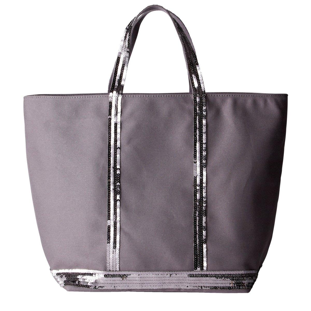 Сумка-шоппер средняя из парусины с блесткамиСредняя сумка-шоппер из парусины с блестками ATHE VANESSA BRUNO. 100% хлопок. Ручки с блестками. Внутреннй карман на молнии. Размеры : 48 x 16,5 x 32,5 см<br><br>Цвет: антрацит,индиго,темно-синий,черный