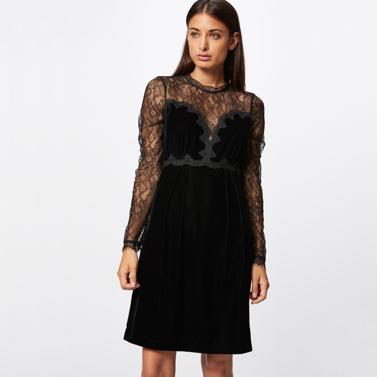 цена Платье La Redoute Короткое расклешенное с длинными рукавами 38 (FR) - 44 (RUS) черный