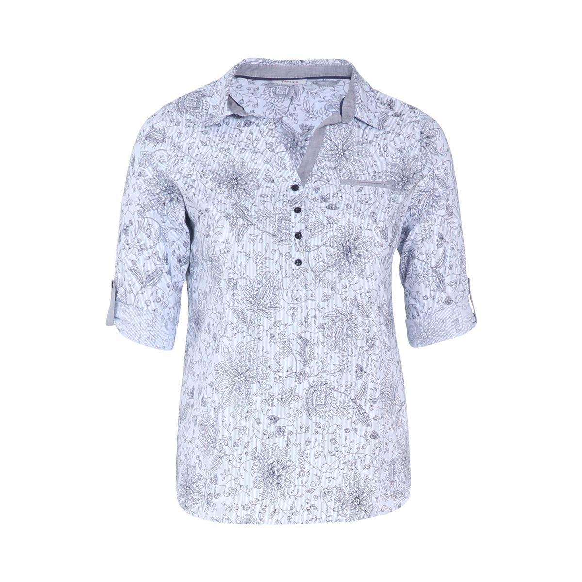 Chemisier imprimé fleuri cachemire col chemise manches longues