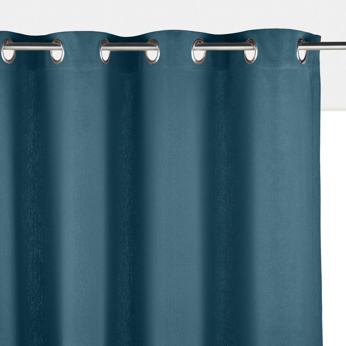 Штора La Redoute Однотонная из плетеного хлопка PANAMA 350 x 140 см синий