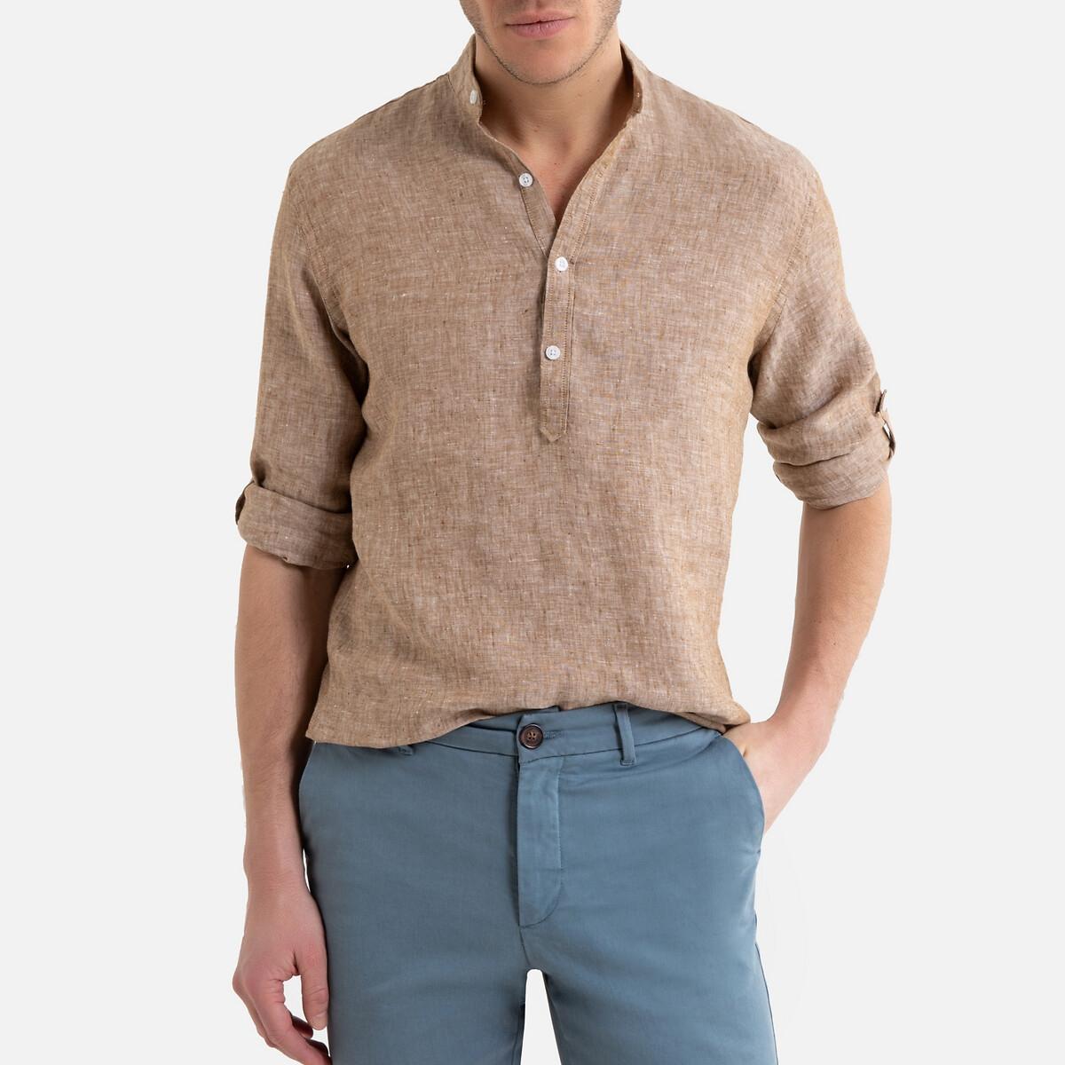 Camisa regular con cuello mao de lino