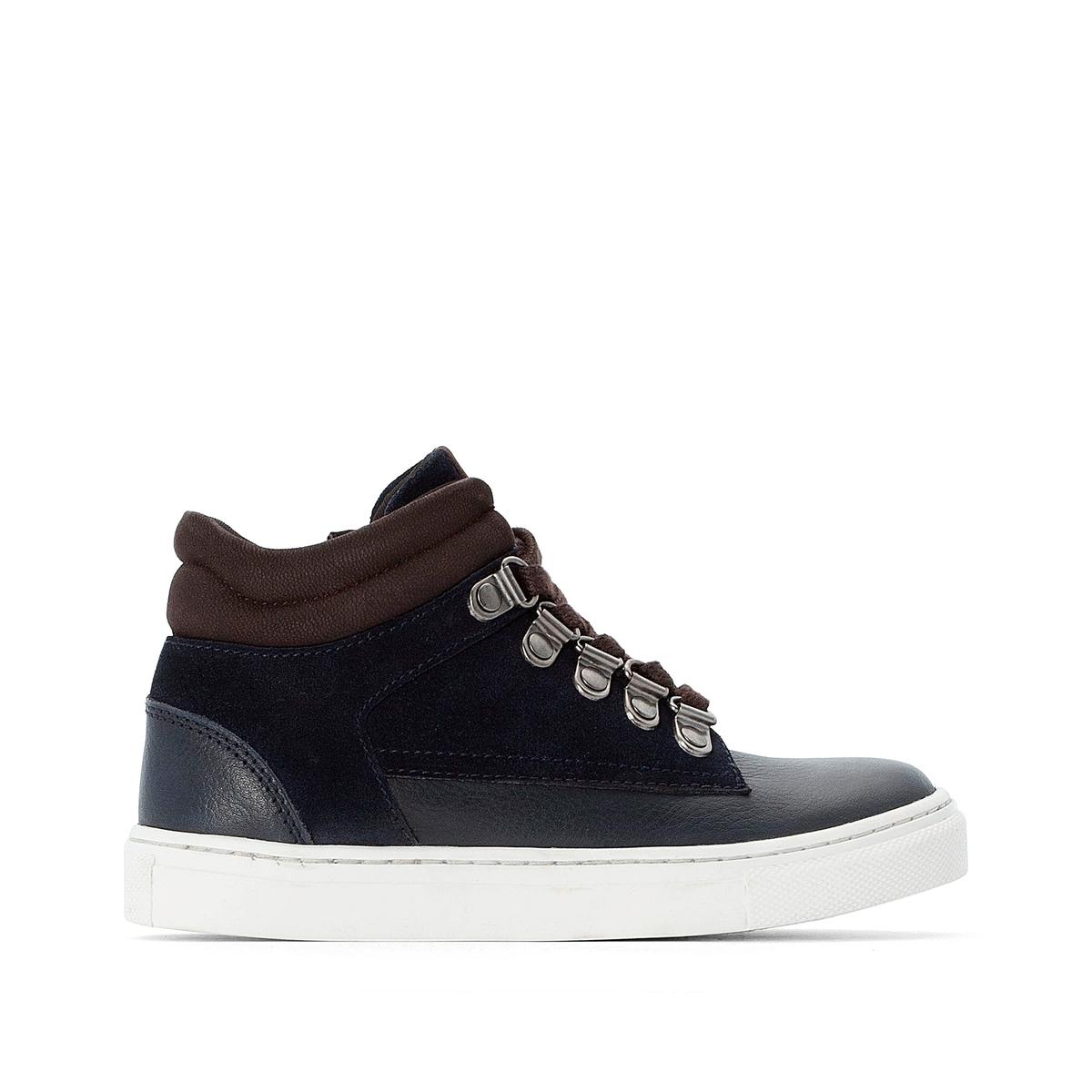 Кеды La Redoute Кожаные на шнуровке в горном стиле размеры - 26 синий