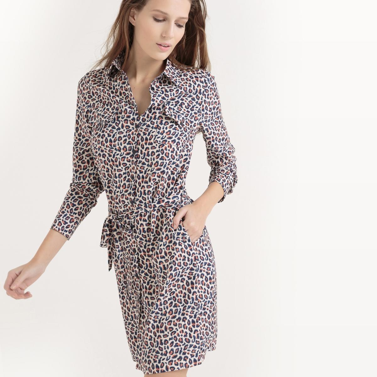 Платье-рубашка с леопардовым принтомПлатье-рубашка с леопардовым принтом  . Прямой покрой с поясом на шлевках и завязками . Длинные рукава и манжеты с застежкой на пуговицы. Застежка на пуговицы спереди. 2 нагрудных кармана с клапаном на пуговице. Состав и описаниеМатериал : 100% полиэстерДлина : 95 смМарка : atelier R.Уход:Машинная стирка при 30°C Стирать вместе с одеждой подобных цветов - Стирать и гладить с изнаночной стороны. Барабанная сушка запрещена Гладить при низкой температуре.<br><br>Цвет: леопардовый рисунок<br>Размер: 46 (FR) - 52 (RUS).44 (FR) - 50 (RUS).38 (FR) - 44 (RUS)