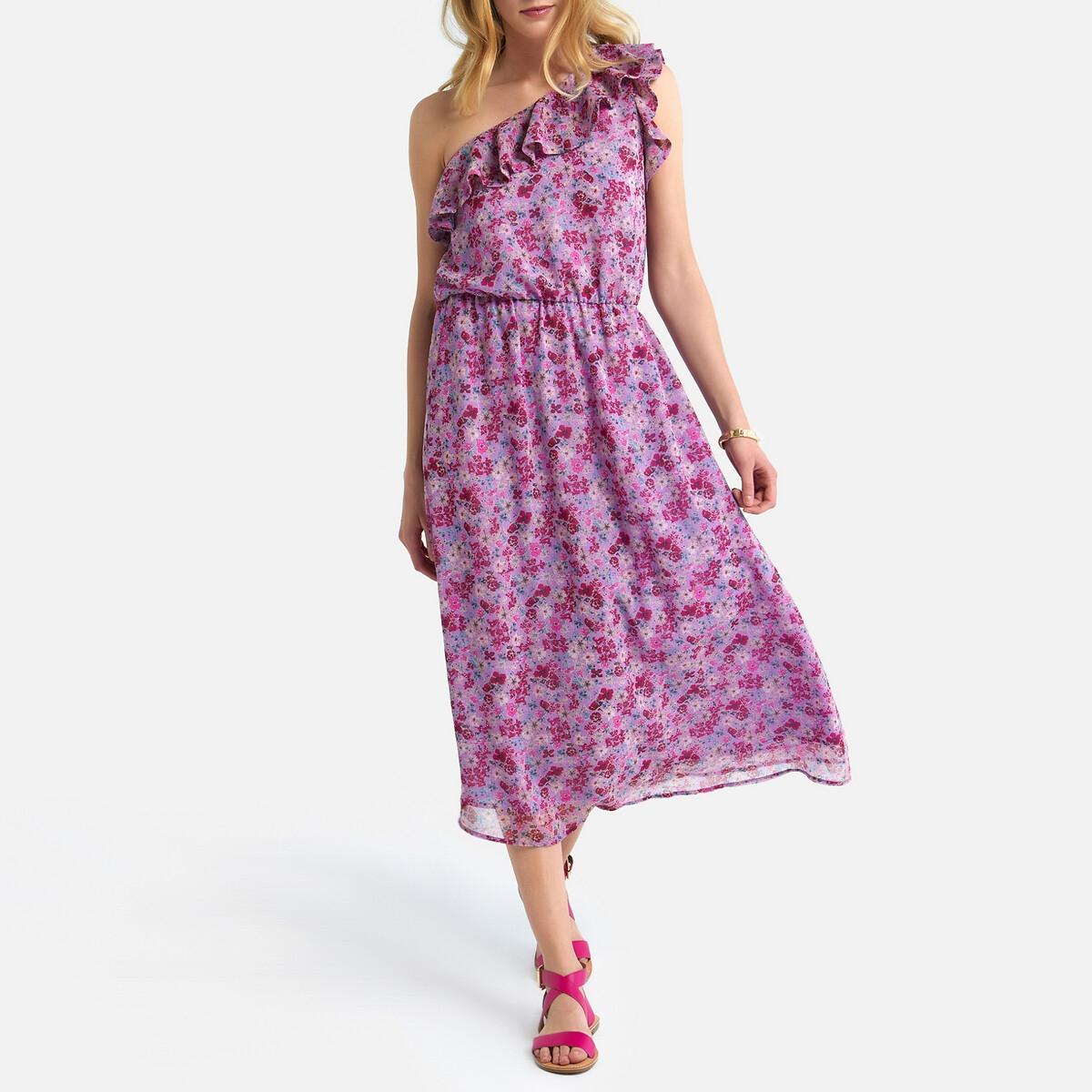 Платье La Redoute С асимметричным вырезом с воланами 44 (FR) - 50 (RUS) розовый