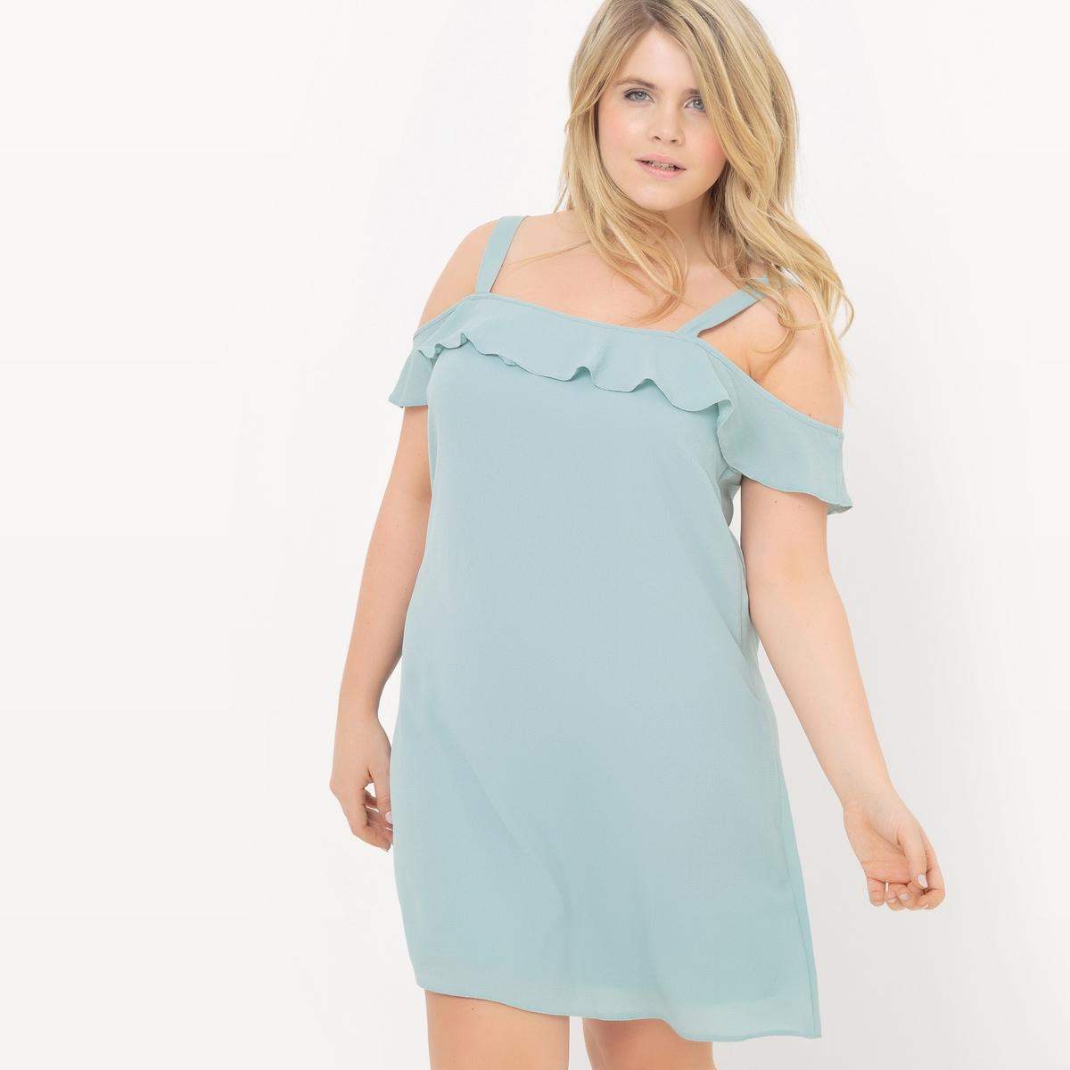 Платье с воланами на тонких бретелях