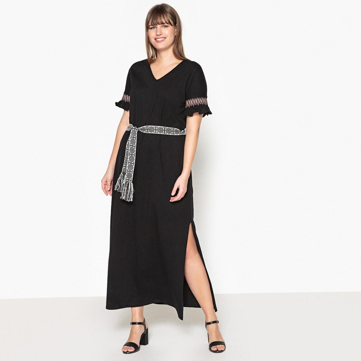 Платье длинное однотонное с короткими рукавами однотонное одеяло из 100% хлопка kumla