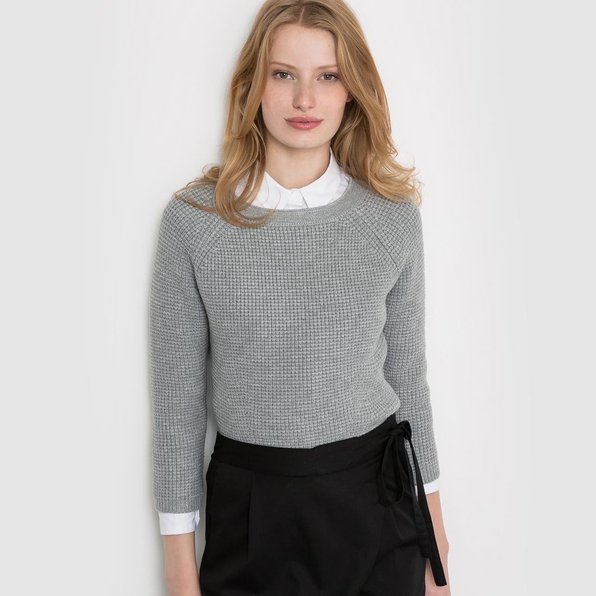 Пуловер короткий с рукавами 3/4 и круглым вырезомПуловер из трикотажа в рубчик 25% вискозы, 41% полиамида, 34% акрила . Круглый вырез. Длинные рукава. Длина 54 см. Очень модный в этом сезоне короткий пуловер, напоминающий внешним видом розовый леденец.<br><br>Цвет: розовый,серый меланж<br>Размер: 46/48 (FR) - 52/54 (RUS).42/44 (FR) - 48/50 (RUS).46/48 (FR) - 52/54 (RUS)