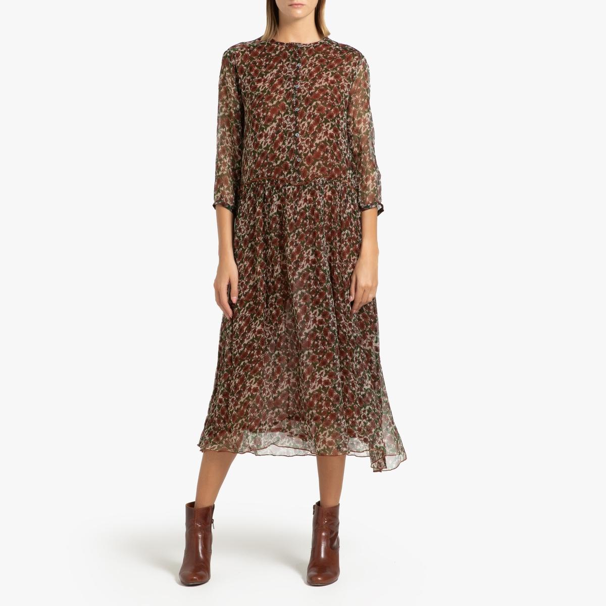 купить Платье La Redoute С рисунком и длинными рукавами DAHLIA MOUSSELINE 40 (FR) - 46 (RUS) разноцветный дешево