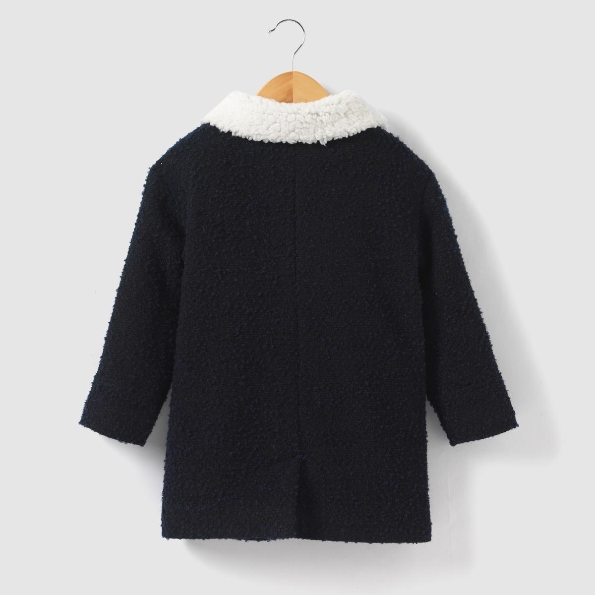 Пальто длинное из буклированной ткани на 3-12 лет