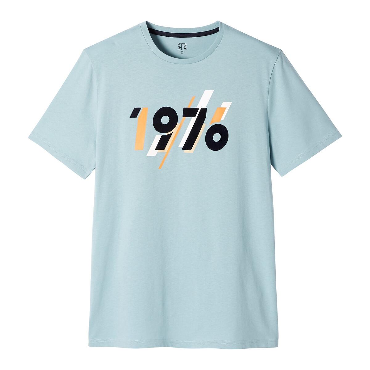 T-shirt de gola redonda, mangas curtas, motivo 1970