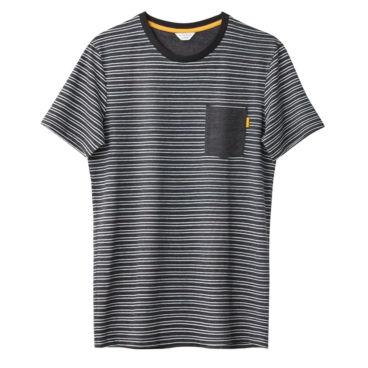 Футболка с круглым вырезом и короткими рукавами футболка в полоску с круглым вырезом