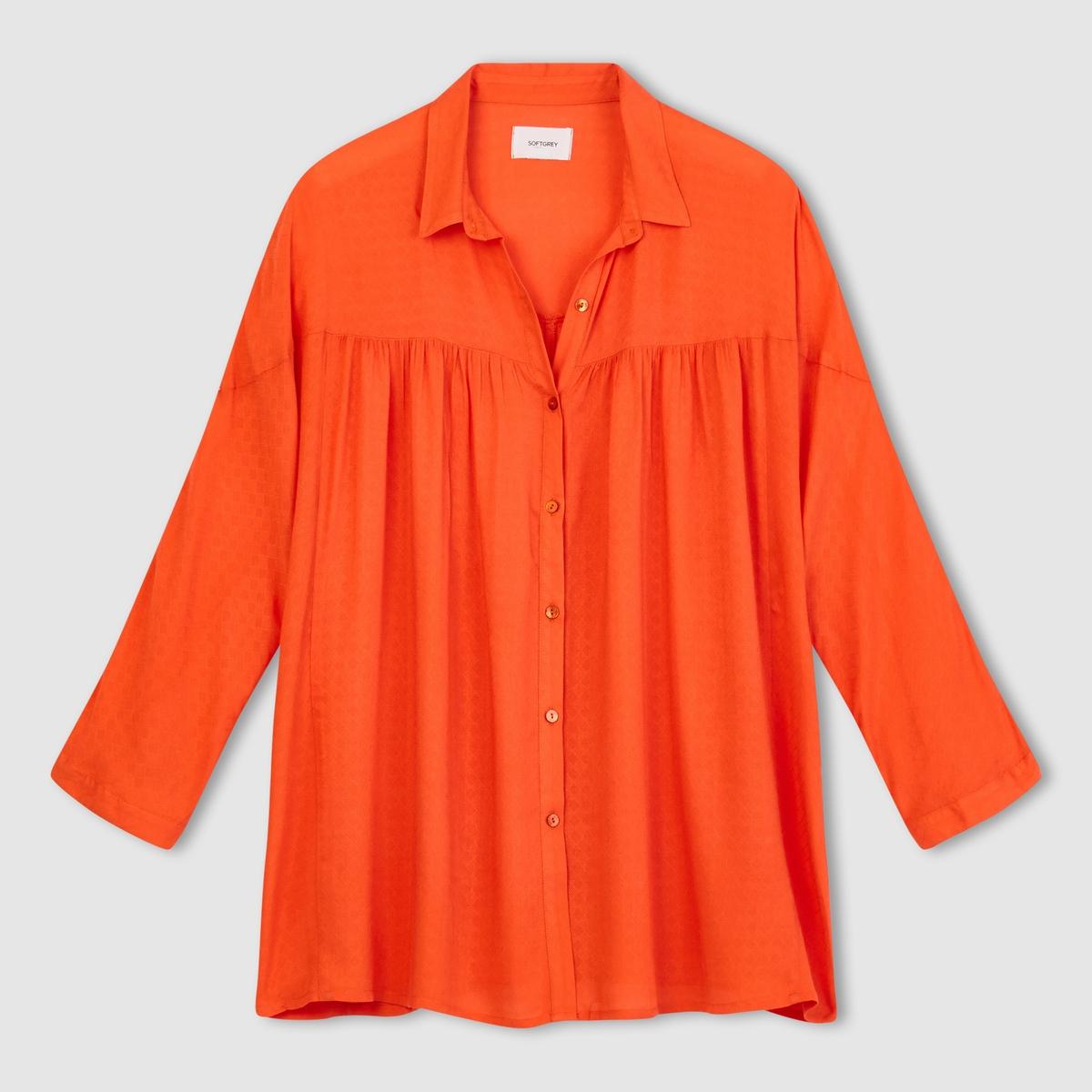 Рубашка объемного покроя с рукавами летучая мышьРубашка, 100% рельефная вискоза. Широкий рукав фасона летучая мышь. Свободный покрой. Мелкие складки на груди. Застежка на пуговицы. Длина 69 см.Рубашка из струящейся ткани свободного покроя в богемном стиле.<br><br>Цвет: оранжевый