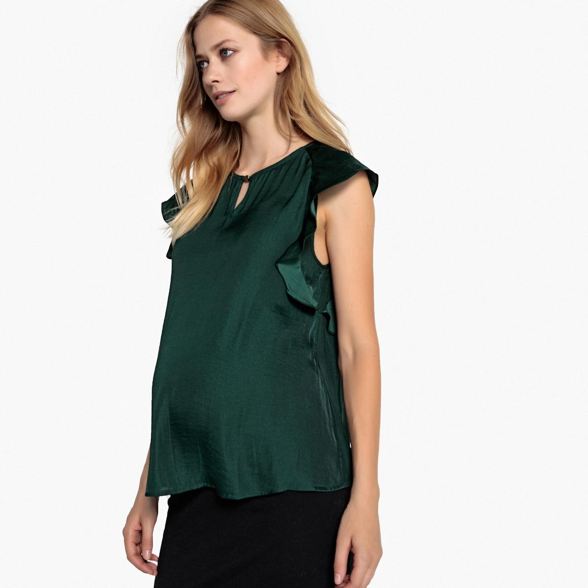 Блуза La Redoute С рукавами с воланами для периода беременности 36 (FR) - 42 (RUS) зеленый трусы la redoute для периода беременности шт 34 36 fr 40 42 rus белый