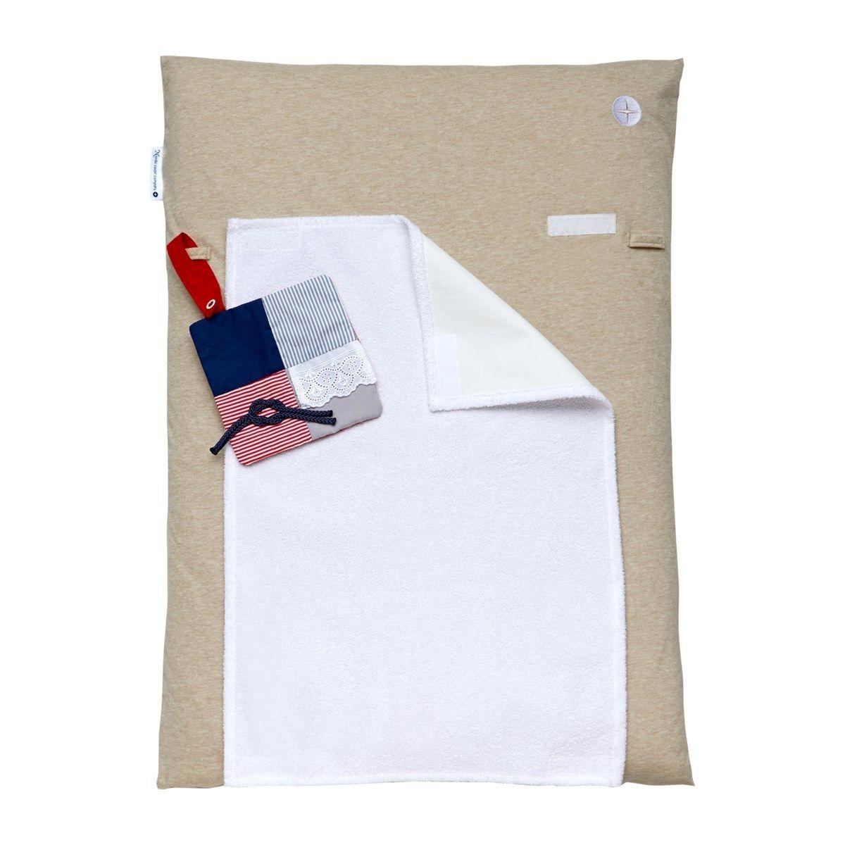 Matelas à langer 70x50cm lavable tissu en beige avec serviette imperméable