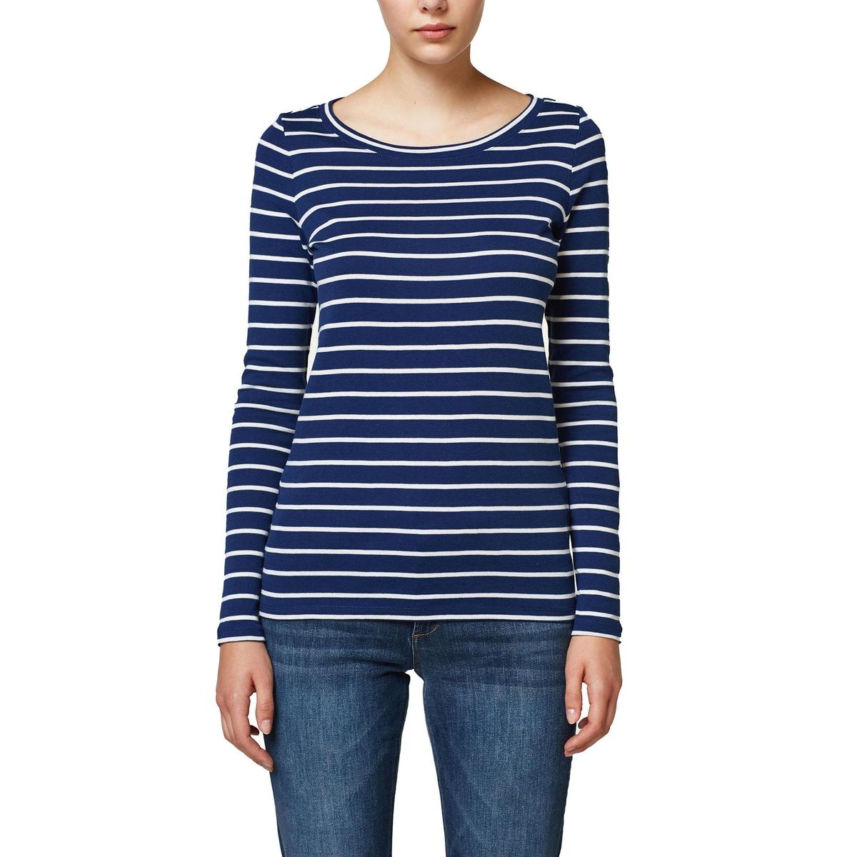 Camiseta con cuello redondo a rayas, manga larga
