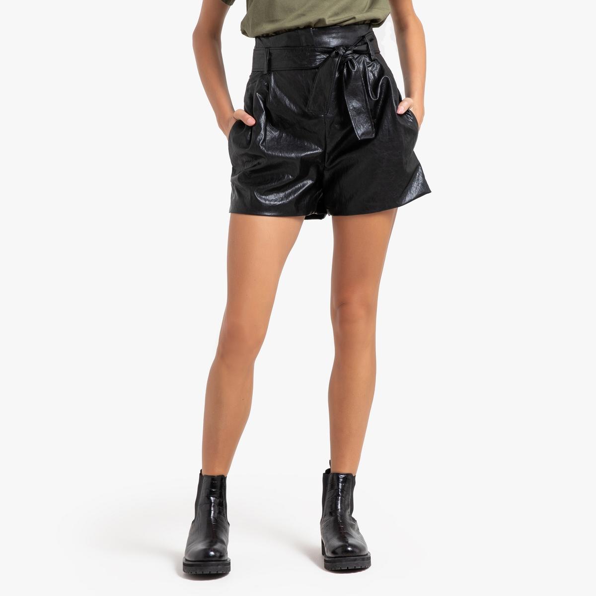 Шорты La Redoute С завышенной талией с эффектом пропитки SOL 3(L) черный юбка la redoute короткая с завышенной талией и цветочным рисунком xs зеленый