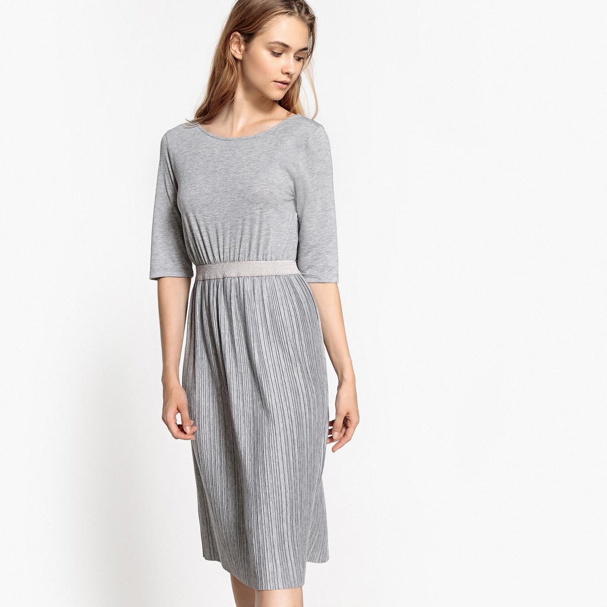 Dzianinowa, plisowana sukienka, dekolt z tyłu