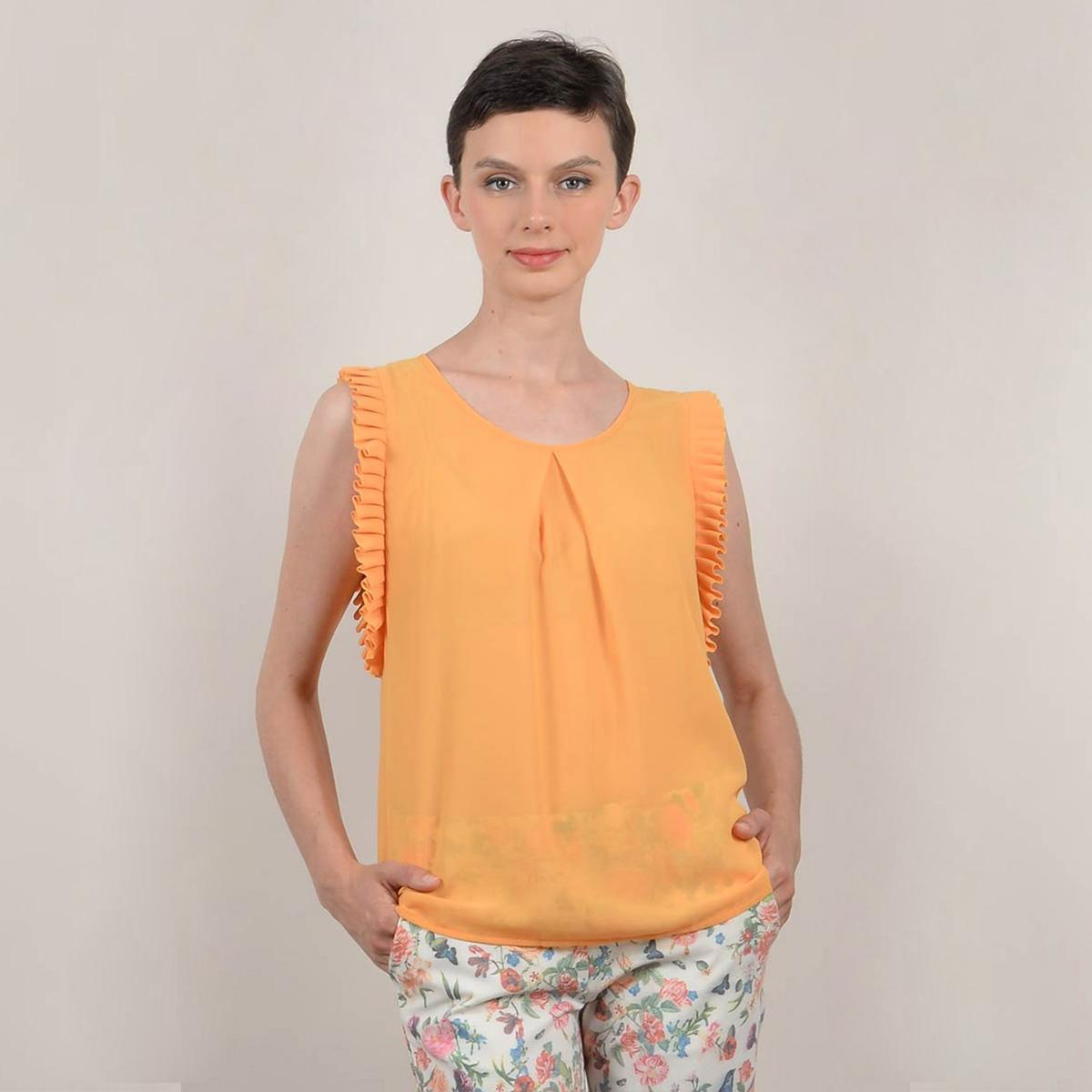Блузка La Redoute С круглым вырезом без рукавов XS желтый
