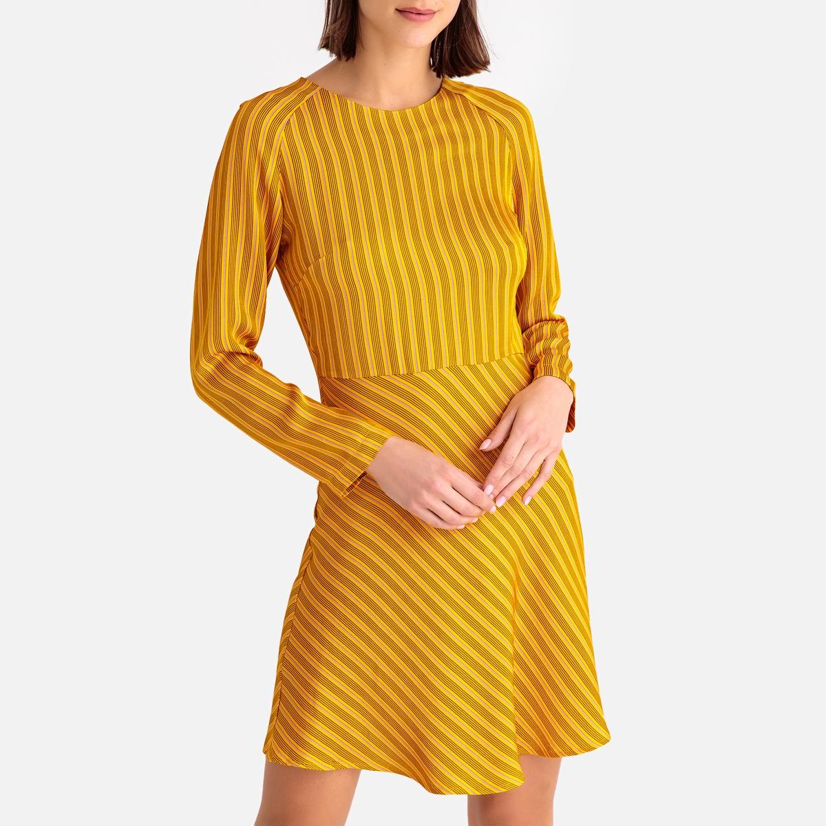 Платье-миди LaRedoute Расклешенное с длинными рукавами ZAMBIA XS желтый