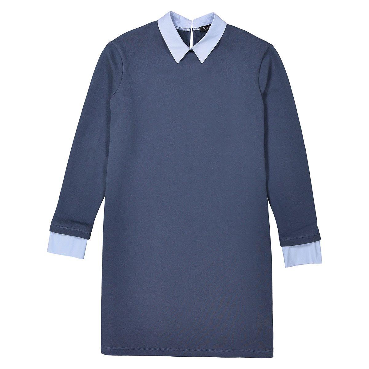 Robe sweat 2 en 1, col chemise