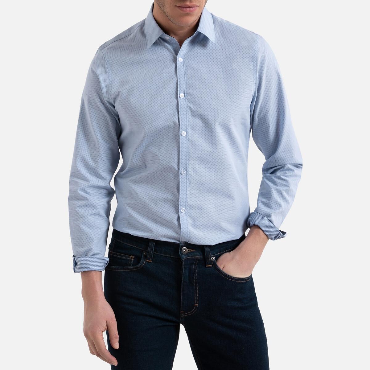 цена Рубашка La Redoute Узкого покроя с длинными рукавами с принтом в горошек 47/48 синий онлайн в 2017 году