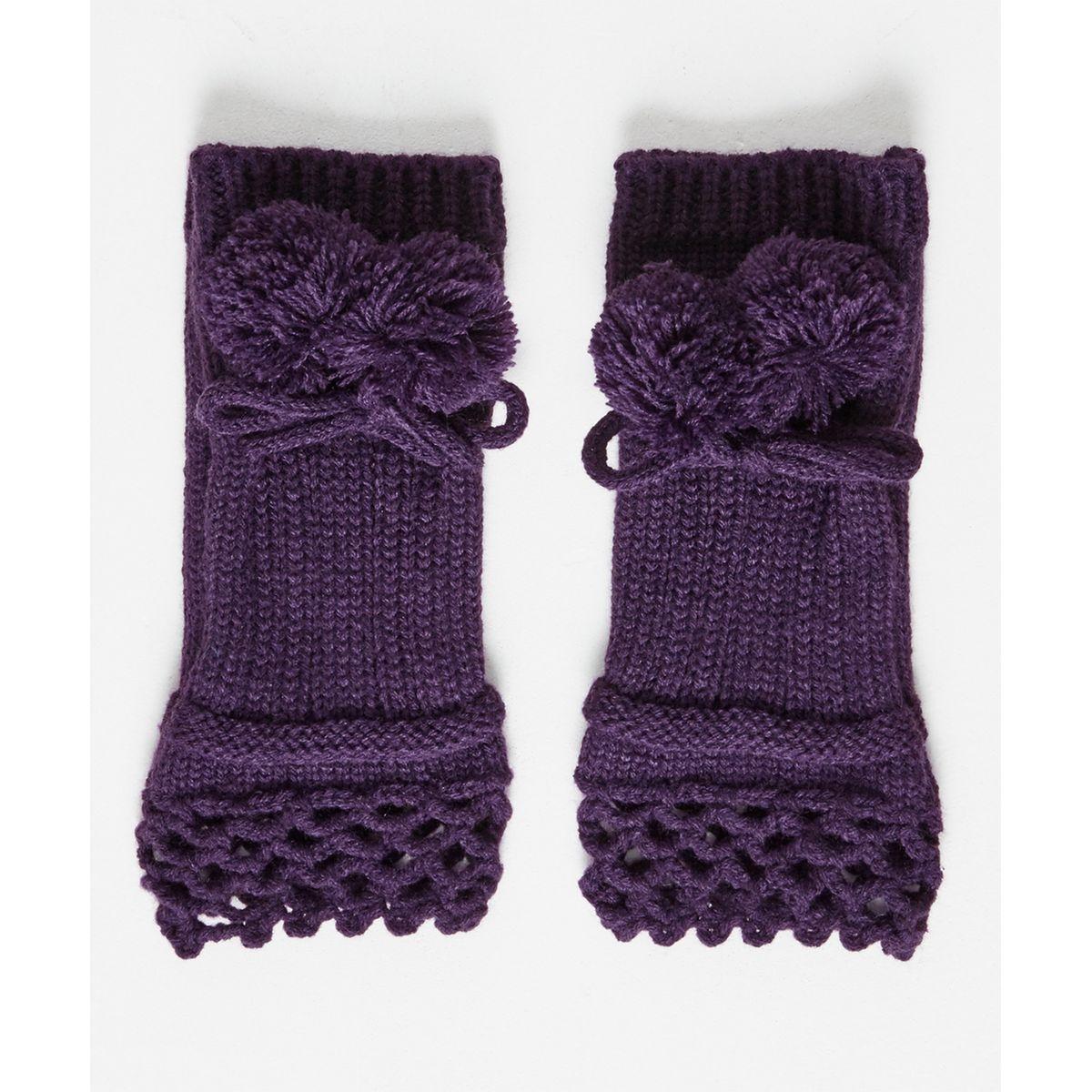 Gants originaux tricotés à pompon