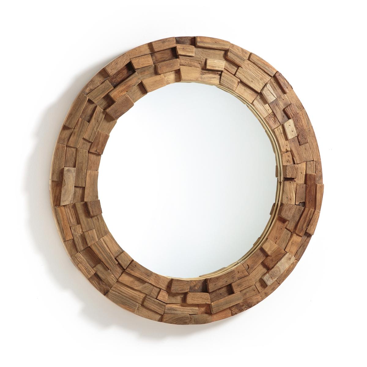 Зеркало из тикового дерева ?80 см, RomaniaЗеркало Romania. Декоративное зеркало, украшенное по контуру деталями из тикового дерева. Настенное крепление на 2 пластины (винты и болты не входят в комплект). Размер : ?80 см.<br><br>Цвет: серо-бежевый
