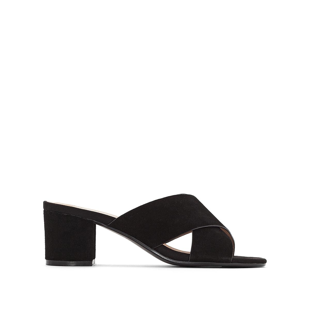 Туфли La Redoute Без задника кожаные с перекрещивающимися ремешками для широкой стопы размеры - 45 черный туфли без задника кожаные с блестящими деталями