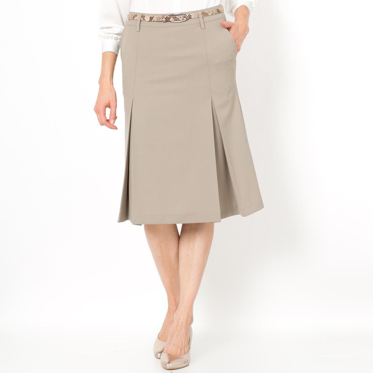 Юбка расклешенная, би-стрейчРасклешенная юбка из саржи би-стрейч. Юбка идеально садится по фигуре благодаря практически немнущимуся материалу.   Проста в уходе, глажка не требуется.    Пояс со шлевками. Скрытая застежка на молнию сзади. Косые карманы.Состав и описание : Материал: Саржа би-стрейч, 48% шерсти, 48% полиэстера, 4% эластана для светлых расцветок, 54% полиэстера, 44% шерсти, 2% эластана для тёмных расцветокПодкладка    100% полиэстерДлина: 62 смМарка: Anne Weyburn  Уход :Машинная стирка при 30°C на умеренном режиме с одеждой подобных цветов.Стирка и глажка с изнаночной стороны.Машинная сушка запрещена..Гладить на низкой температуре.<br><br>Цвет: бежевый,серый меланж,темно-синий,черный<br>Размер: 44 (FR) - 50 (RUS).48 (FR) - 54 (RUS).48 (FR) - 54 (RUS).44 (FR) - 50 (RUS).52 (FR) - 58 (RUS).42 (FR) - 48 (RUS).46 (FR) - 52 (RUS).48 (FR) - 54 (RUS).50 (FR) - 56 (RUS)